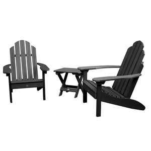 2 Classic Westport Adirondack Chairs with 1 Adirondack Folding Side Table Highwood USA Black