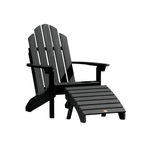 Classic Westport Adirondack Chair with Folding Adirondack Ottoman Highwood USA Black