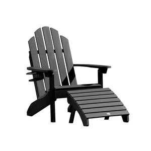 Classic Westport Adirondack Chair with Cup Holder & Folding Adirondack Ottoman Highwood USA Black