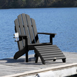 Classic Westport Adirondack Chair with Cup Holder & Folding Adirondack Ottoman Highwood USA