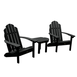 2 Classic Westport Adirondack Chairs with 1 Westport Side Table Highwood USA Black