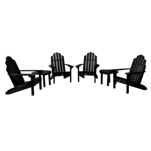 4 Classic Westport Adirondack Chairs with 2 Side Tables Highwood USA Black