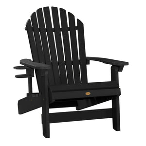 1 King Hamilton Folding and Reclining Adirondack Chair with 1 Easy-add Cup Holder Highwood USA Black