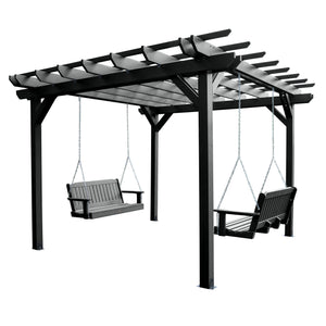 Bodhi 12' x 12' Pergola with 2 Lehigh 4' Swings Highwood USA Black