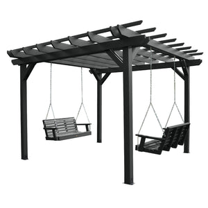 Bodhi 12' x 12' Pergola with 2 Weatherly 4' Swings Highwood USA Black