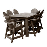Hamilton 7pc Rectangular Outdoor Dining Set 42in x 72in - Counter Height Dining Highwood USA Weathered Acorn