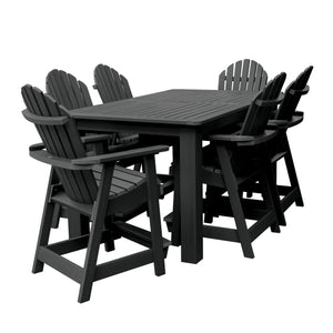 Hamilton 7pc Rectangular Outdoor Dining Set 42in x 72in - Counter Height Dining Highwood USA Black