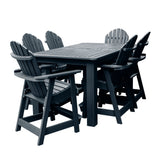 Hamilton 7pc Rectangular Outdoor Dining Set 42in x 72in - Counter Height Dining Highwood USA Federal Blue
