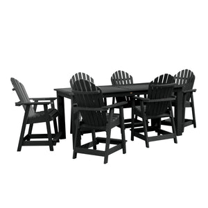 Hamilton 7pc Rectangular Outdoor Dining Set 42in x 84in - Counter Height Dining Highwood USA Black