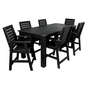 Weatherly 7pc Rectangular Outdoor Dining Set 42in x 84in - Counter Height Dining Highwood USA Black