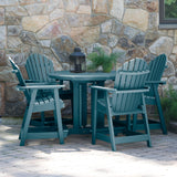 "Commercial Grade 5 Pc Muskoka Adirondack Dining Set in Counter Height with 48"" Table Sequoia Professional"