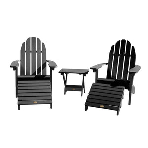 2 Essential Adirondack Chairs with Folding Side Table & 2 Folding Ottomans