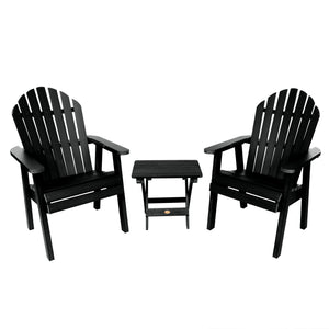 2 Hamilton Deck Chairs with Folding Side Table Highwood USA Black