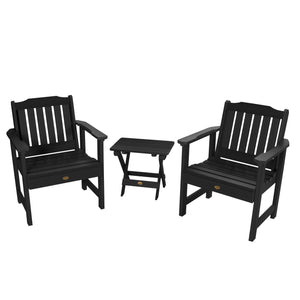 2 Lehigh Garden Chairs with Folding Adirondack Side Table Highwood USA Black