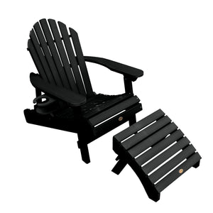 1 Hamilton Folding & Reclining Adirondack Chair with 1 Ottoman & 1 Easy-add Cup Holder Kitted Sets Highwood USA Black
