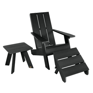 Barcelona Modern Adirondack Chair, Ottoman, and Side Table Highwood USA Black