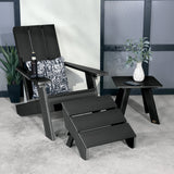 Barcelona Modern Adirondack Chair, Ottoman, and Side Table Highwood USA
