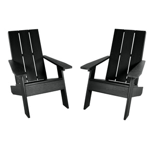 Set of Two Barcelona Modern Adirondack Chairs Highwood USA Black