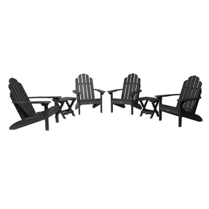 4 Classic Westport Adirondack Chairs with 2 Folding Side Tables Highwood USA Black
