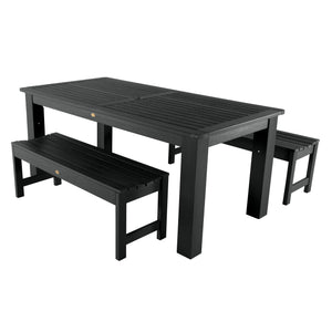 Lehigh 3pc 37in x 72in Rectangular Dining Set Highwood USA Black