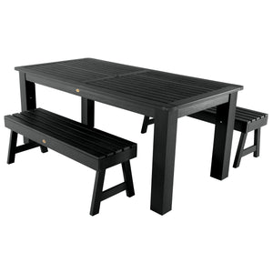 Weatherly 3pc 37in x 72in Rectangular Dining Set Highwood USA Black