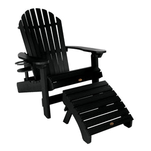 King Hamilton Folding & Reclining Adirondack Chair, Ottoman & Cup Holder Highwood USA Black
