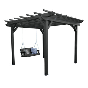 Bodhi 10' x 12' DIY Pergola with 4' Weatherly Porch Swing Highwood USA Black