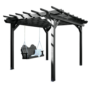 Bodhi 12' x 12' DIY Pergola with 4' Classic Westport Porch Swing Highwood USA Black