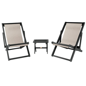 2 Arabella Sling Chairs with Folding Side Table Bowie ELK OUTDOORS® Abyss