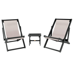 2 Arabella Sling Chairs with Folding Side Table Cobblestone ELK OUTDOORS® Abyss