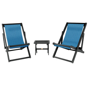 2 Arabella Sling Chairs with Folding Side Table Hudson ELK OUTDOORS® Abyss