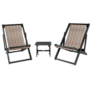 2 Arabella Sling Chairs with Folding Side Table Metro ELK OUTDOORS® Abyss