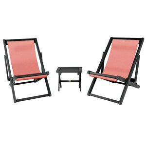 2 Arabella Sling Chairs with Folding Side Table Coral ELK OUTDOORS® Abyss