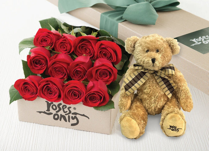 12 Red Roses Gift Box & Teddy Bear