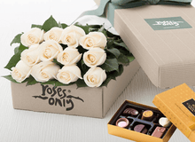 12 White Cream Roses & Gold Godiva (6PC) Chocolates