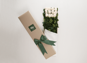 12 White Cream Roses Gift Box & Teddy Bear