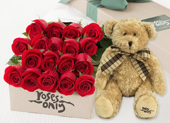 18 Red Roses Gift Box & Teddy Bear