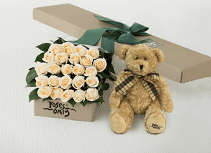 24 White Cream Roses Gift Box & Teddy Bear