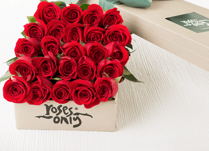 24 Red Roses Valentines Gift Box