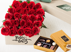 24 Red Roses & Gold Godiva (6PC) Chocolates