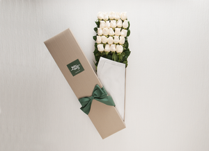 24 White Cream Roses Gift Box