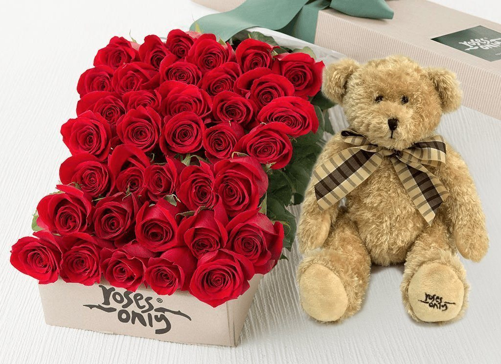 36 Red Roses Valentines Gift Box & Teddy Bear