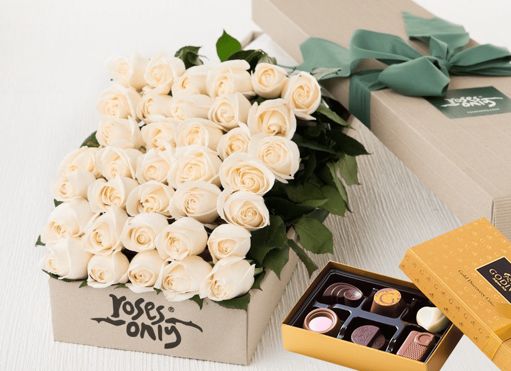 36 White Cream Roses & Gold Godiva (6PC) Chocolates