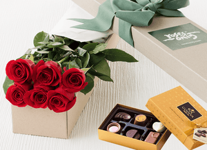 6 Red Roses & Gold Godiva (6PC) Chocolates