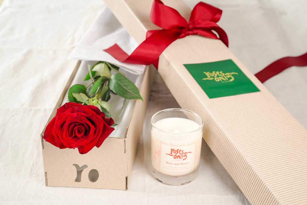 Single Red Rose And Duft & Chandelle Soy Candle