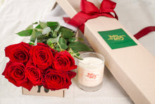 6 Red Roses And Duft & Chandelle Soy Candle