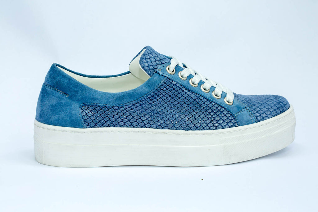 SK Blue Lagoon Leather Platform Sneakers