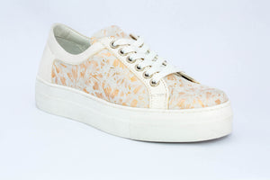 SK Women's Flower Leather Platform Sneakers
