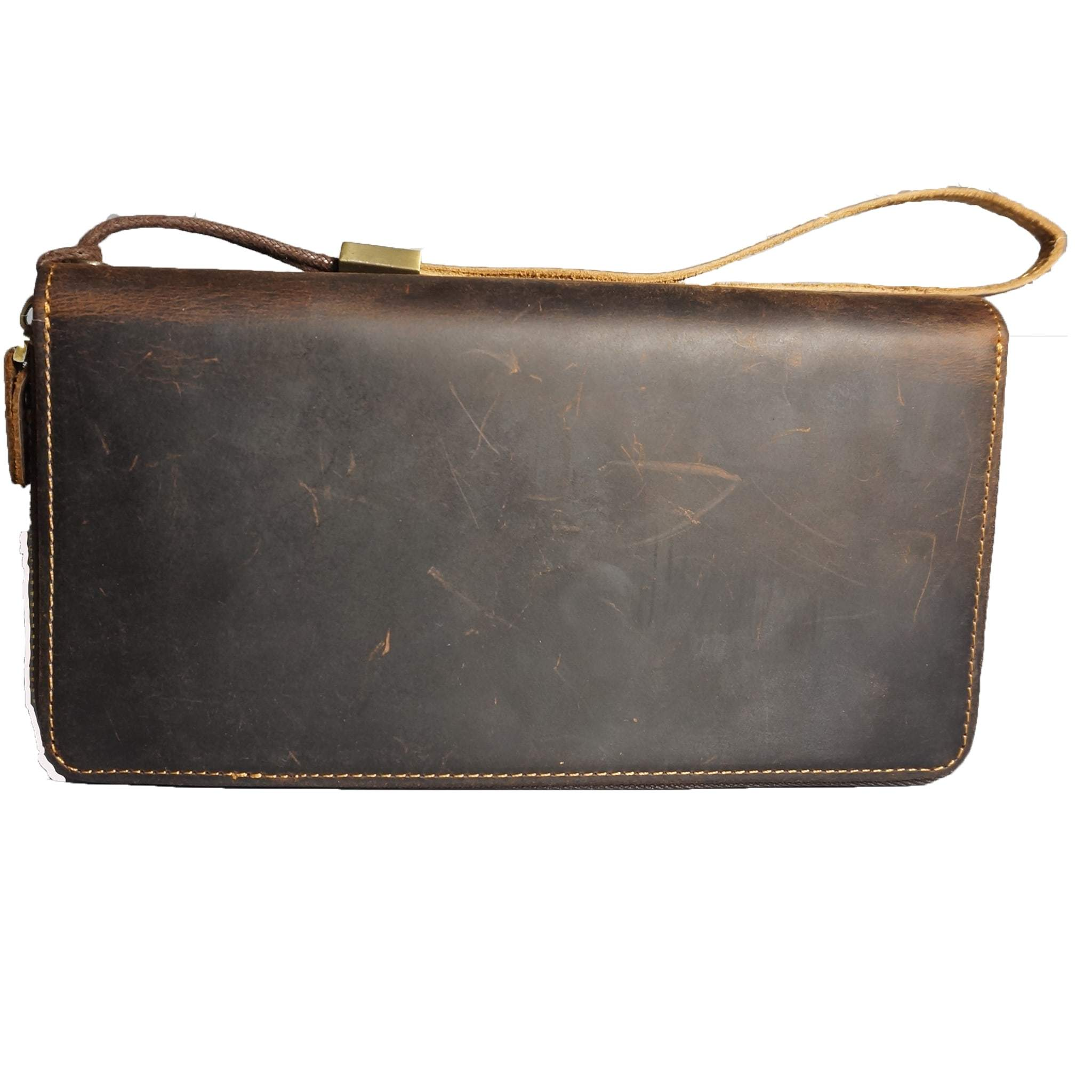 Sturdy Leather Zip around Clutch