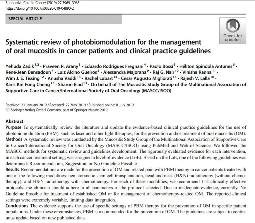2019 Guidelines for Photobiomodulation for the Management of Oral Mucositis